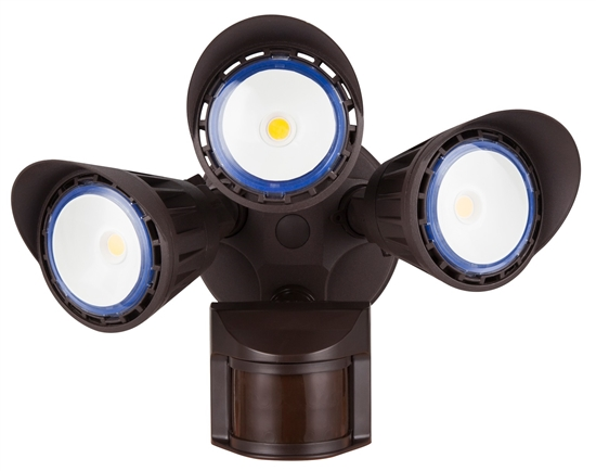 WestGate Security Lights, 30 Watt with PIR Sensor, 5000K, Bronze Finish,  SL-30W-50K-BZ-P